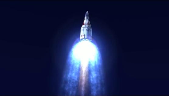 Häftig animering visar Armadillo Aerospace suborbitala rymdturistfärd